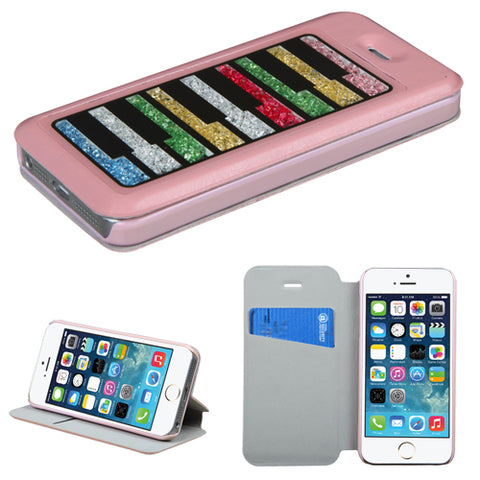 For iPhone 5s/5 Pink MyJacket with Colorful Beads Inside Rectangles