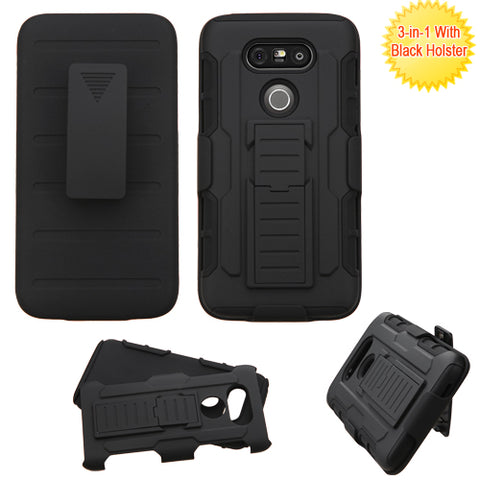 For LG G5 Advanced Impact Armor Stand Protector Cover (with Black Holster)