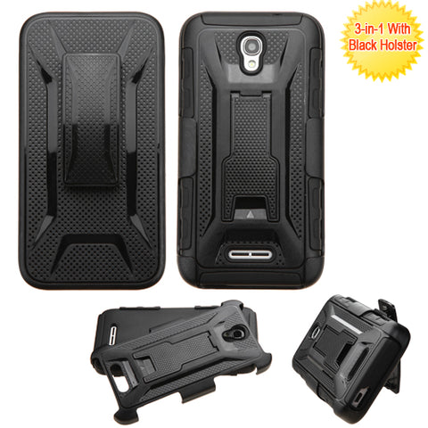 For 5017 OneTouch ELEVATE Black Advanced Armor Stand Case Cover (With Holster)