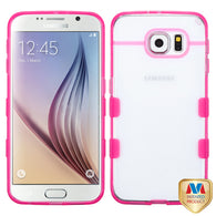 For G920 Galaxy S6 Glassy Transparent Clear/Transparent Hot Pink Gummy Cover