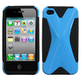 For iPhone 4s/4 Natural Turquoise/Black Dual X Phone Protector Cover
