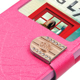 For Optimus Exceed 2 L70 Hot Pink Embossed Book-Style MyJacket Wallet +window