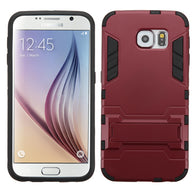 For G920 Galaxy S6 Burgundy/Black Iron-bear Stand Hybrid Protector Cover