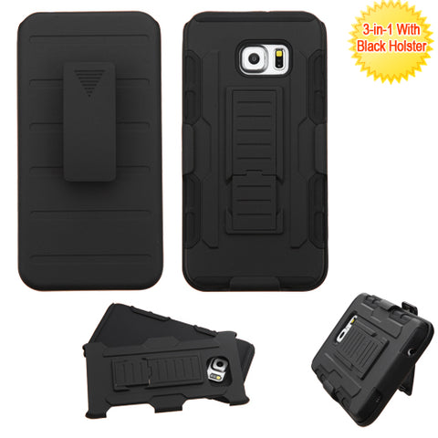 For Galaxy S6 edge Plus Black Advanced Armor Stand Case Cover (With Holster)