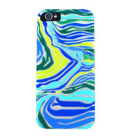 Aqua Blue/Lime Green Zebra Hard Back Protector Cover Case for iPhone 5