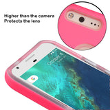 For Google Pixel XL Electric Pink Dots Textured/Clear Fusion Protector Cover