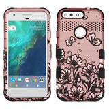 For Google Pixel XL Black Lace Flowers (2D Rose Gold) TUFF Hybrid Phone Cover