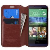 For Desire 510 Brown MyJacket Wallet +Tray Protector Cover Case