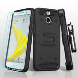 For HTC Bolt Black/Black 3-in-1 Kinetic Hybrid Protector Cover Combo Holster