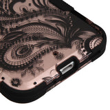 For HTC Bolt Phoenix Flower (2D Rose Gold)/Black TUFF Hybrid Protector Cover