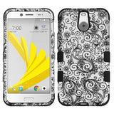 For HTC Bolt Black Four-Leaf Clover (2D Silver) TUFF Hybrid Protector Cover