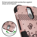 For HTC Bolt Black Lace Flowers (2D Rose Gold) TUFF Hybrid Phone Protector Cover