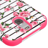 For HTC Bolt Pink Fresh Roses/Electric Pink TUFF Hybrid Phone Protector Cover