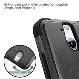 For HTC Bolt Natural Black/Black TUFF Hybrid Phone Protector Skin Case Cover