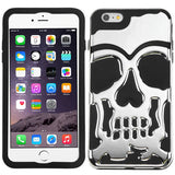 For iPhone 6s Plus/6 Plus Silver Plating/Black Skullcap Hybrid Protector Cover