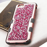 For iPhone 6 Plus/6s Plus Hot Pink Mini Crystals/Iron Gray Vivid Case Cover