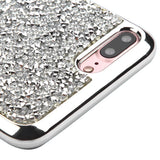 For iPhone 7 / 8 Plus Silver Mini Rhinestones Candy Case Electroplated Frame