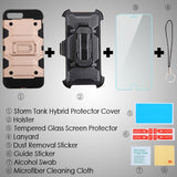 For iPhone 7 / 8 Plus Rose Gold/Black 3-in-1 Storm Tank Protector Cover Case