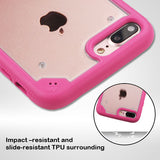 For iPhone 7 / 8 Plus Clear/Hot Pink FreeStyle Challenger Hybrid Protector Cover