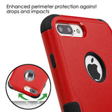 For iPhone 7 / 8 Plus Natural Red/Black Hybrid Phone Protector Cover w/ Stand