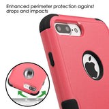For iPhone 7 / 8 Plus Natural Pink/Black Hybrid Phone Protector Cover w/ Stand