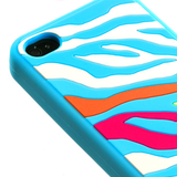 Rainbow Zebra/Baby Blue Pastel Skin Cover Protector Case for iPhone 4 4S