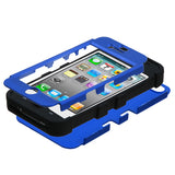 Blue/Black Titanium TUFF Hybrid Rugged Protector Cover Case iPhone 4 4S