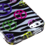 Black/Silver Zebra Peace Sign 2D Skin Cover Protector Case for iPhone 5
