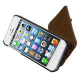 Brown Premium Protective Cover Case MyJacket Wallet w/ stand for iPhone 5