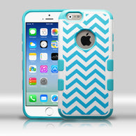 Chevron White/Teal Blue