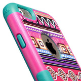 Aztec Tribal Print/Pink  Hybrid Molded Protector TUFF Merge Case for iPhone 6