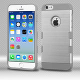 For iPhone 6s / 6 Silver/Iron Gray Brushed TUFF Trooper Hybrid Protector Cover