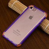 For iPhone 7 / 8 Clear Dots/Purple/Orange Corners Contour Mesh Candy Skin Cover