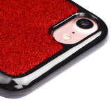 For iPhone 7 / 8 Red Glittering & Silver Stars Krystal Gel Candy Skin Cover