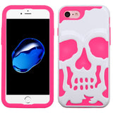 For iPhone 7 / 8 Ivory White/Electric Pink Skullcap Hybrid Protector Cover