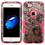 For iPhone 7 / 8 Black FourLeaf Clover 2D Rose Gold/Electric Pink Phone Cover
