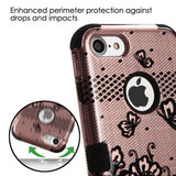 For iPhone 7 / 8 Black Lace Flowers 2D Rose Gold/Black TUFF Phone Protector