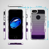 For iPhone 7 / 8 Metallic Silver/Purple Gradient Brushed Panoview Hybrid Cover