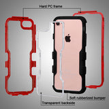 For iPhone 7 / 8 Natural Red Frame+Transparent PC Back/Black Vivid Hybrid Cover