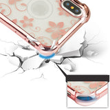 For iPhone XS/X Rose Gold/Hibiscus Flower Sheer Glitter Candy Skin Case Cover