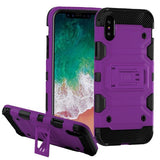 For iPhone XS/X Purple/Black Storm Tank Hybrid Impact Armor Protector Case Cover