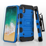 For iPhone XS/X Blue/Black 3-in-1 Storm Tank Hybrid Protector Holster Combo