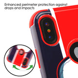 For iPhone XS/X Union Jack Skull/Red TUFF Hybrid Armor Phone Protector Case