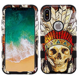 For iPhone XS/X Dead Chief Skull/Black TUFF Hybrid Armor Phone Protector Case