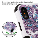 For iPhone XS/X Purple European Flowers/Black TUFF Hybrid Protector Case Cover