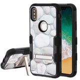 For iPhone XS/X Rocky Pebbles/Black TUFF Hybrid Protector Cover Case with Stand