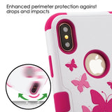For iPhone XS/X Butterfly Dancing/Hot Pink TUFF Hybrid Protector Case w/Stand
