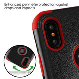 For iPhone XS/X Natural Black/Red TUFF Hybrid Rugged Protector Case w/Stand