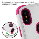 For iPhone XS/X Natural Cream White/Hot Pink TUFF Hybrid Armor Protector Case