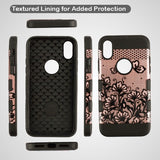 For iPhone XS/X Black Lace Flowers 2D Rose Gold TUFF Trooper Hybrid Protector